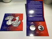 2003 Legacies Of Freedom Us And Uk Silver Bullion 2-coin Set Britannia And Ase B18