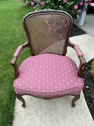 Vintage Ethan Allen Cane Bergere French Louis Xv Chair In Rose Great Condition