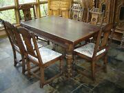 Rare Solid White Oak Antique 9 Piece Dining Room Set Table Chairs Cabinets