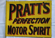 Vintage 23andrdquo Prattandrsquos Motor Sport Double Sided Flanged Porcelain Sign Car Gas Oil