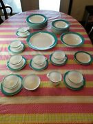 Vintage Pyrex Turquoise Aqua Gold Trim 34pc Dinner And Salad Plates Cup Saucers