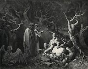Gustave Dore 1800s Enferno Woodcut Punishment Of The Suicides Signed Framed Coa