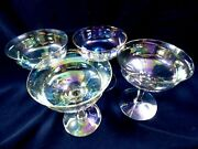 Vtg 4pc Iridescent Crystal Optic Paneled Glass Footed Cordial Champagne Glasses