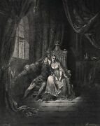 Dore 1800s Divine Comedy Woodcut Paolo And Francesca The Kiss Signed Framed Coa
