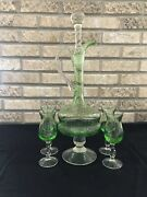 Vintage Green Glass Decanter And Cordial Wine Stemwear Set 6 Pc Set Large