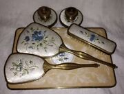 Vintage Embroidered Dressing Table Set With Tray Nylon Made In England