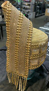 Whittall And Shon Designer Hat Gold Pillbox Shape With Gold Tie Design And Fringe