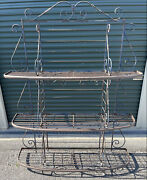 Antique 19th Century Wrought Iron And Brass Fancy French Bakers Rack Nice