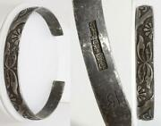 Antique Chinese Silver Hand Chased Split Bracelet 33.1g Signed