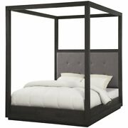 Modus Oxford Tufted Queen Canopy Bed In Basalt Gray And Dolphin