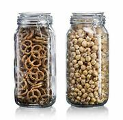Glass Jar With Lid - Glass 64oz - 2pc Canister Set - Flour Canister 1/2 Gallon