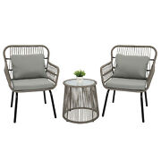 3pcs Bistro Set Chat Patio Wicker Chairs Glass Top Side Table With Soft Cushion