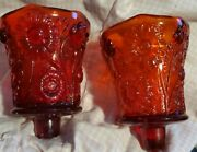 Vintage Votive Cups 2-- Homco Home Interior Red Daisy Glass Pegged Candle