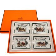 Hermes Authentic Horse And Zebra Hunter Mini Ashtray 4 Pieces Set Used From Japan