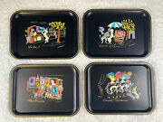 Vintage 1950's Nascho Ny Clement French Poodle Metal Hand Painted Tray Lot Of 4