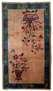 Handmade Antique Art Deco Chinese Rug 4.1and039 X 6.5and039 125cm X 198cm 1920s - 1b639
