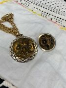 2 Antique Owl Buttons Made Into Pendants Pin And Pendent