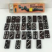 Milton Bradley 1970and039s Dragon Double Six White Dot Wooden Dominoes Complete 4130