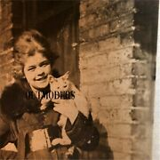 Vintage Original Real Photo Early Girl And Cat Victorian Early 1900s Unique Rare
