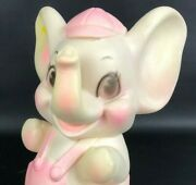 Vintage Sanitoy Inc Elephant Rubber Squeaky Toy Pink White Hat Overalls Loud Vtg