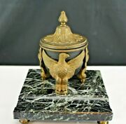 Antique Bronze And Marble Inkwell Three Eagles Holding Black Caldron 19th Century