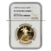 1990-w 50 American Gold Eagle Ngc Pf70 Ucam Ultra Cameo Bullion Proof Coin 22kt