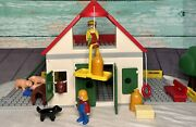 Playmobil 1990 123 Large Farm 6800 Building Barn Stable 6103020 Complete In Box