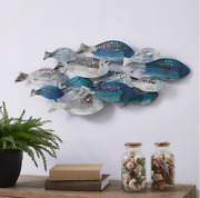 Coastal School Of Fish Metal Wall Art Metal Crafter With Hanging Hooks Installed