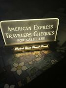 Bank Collectible American Express Travelers Cheques Light Up Brass Sign Works