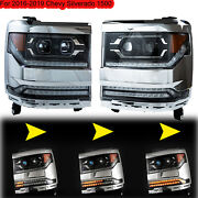Fit 2016-2019 Chevy Silverado Dual Projector Full Led Drl Sequential Headlight