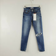 Moussy Vintage Womens Blue Flat Front Low Rise Distressed Skinny Jeans Size 24