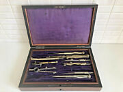 Antique Drawing Instruments In Wooden Case - 9 X 6 Old Technical Drawing Set