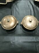 2 Antique Christofle French Silverplate Vegetable Serving Tureen Dish