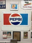 Vintage Double Sided Metal Pepsi Store Front Sign 60andrdquo- 40andrdquo Advertising Soda 70s