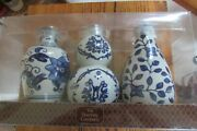Bombay Company Blue And White Floral Bud Vase Trio New