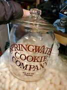 Vintage Clear Glass Springwater Cookie Candy Jar Large No Chips Store Htf