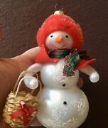 Christopher Radko Italian Ornament Snow Woman With Basket And Red Fuzzy Hat