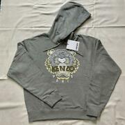 Kenzo Authentic Tiger Embroidery Hoodie Parka Gray Xl New Unused From Japan