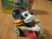 Vintage Linemar 1950andrsquos Disney Mickey Mouse Wind-up Marx Tricycle From Japan