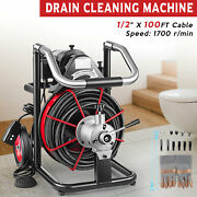 Electric 100ft X 1/2and039and039 Drain Auger Cleaner Cleaning Machine Plumbing Sewer Snake