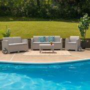 Modern 4pc Outdoor Faux Rattan Chair Loveseat Sofa And Table Set In Light Gray