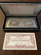Washingto Mint 1998 100,000 Silver Proof Note 4-oz .999 Siver Bar W/certificate