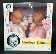 Vintage Nos Gerber Twins Doll Set Plush Vinyl Baby Girl 1997 Never Played With