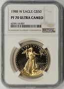 1988-w American Gold Eagle 50 One-ounce 1 Oz Proof Pf 70 Ultra Cameo Ngc