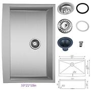 332110in Country Farmhouse 304 Stainless Steel Single Bowl Apron Sink 18 Gauge