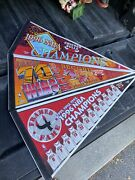Lot Of 3 Wincraft Nba Pennants Chicago Bulls 1996 Champions 70 Wins Framed Fame