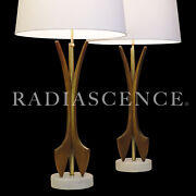 Pair Xl Danish Atomic Modern Modeline Walnut Marble Table Lamps 1950's Pearsall