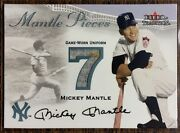 Mickey Mantle 2007 Fleer Authentic Game Worn Uniform And Stain Swatch Relic Card