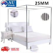 25mm 4 Corner Bed Canopy Post Stainless Steel Frame Bracket Mosquito Netting New