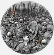 2019 Niue 5 Mint Of Poland Leonidas Great Commanders 2oz Silver Coin Box And Coa